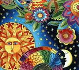 Laurel Burch Sun, Moon & Flowers