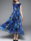 Veinfuns 'Blue A-Line Sleeveless Printed Maxi Dress'