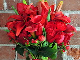 Lilies callas roses bouquet red wall