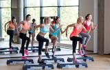 Girls, group, fitness, class, located step, aerobics, gym
