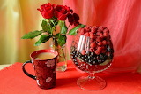 Coffee, fruit and flowers