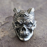 Men Skull Rings Three Eyed Demon