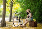 Girl, bike, park, suitcase, Asian, hat, flowers, trees