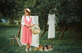 Dogs, girl, basket, hat, dress, park, nature, clothes, laundry