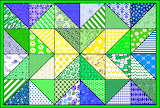 Patchwork Quilt Pattern 7a_Green-Blue Tones