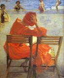 Sir John Lavery, Girl in a red dress reading by a swimming pool,