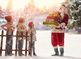 santa giving gifts to children