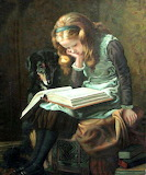 Girl Reading Beside a Dog by Briton Riviere
