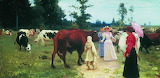 Рєпін І.Ю.Панянки на прогулянці серед стада корів