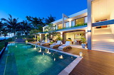 beautiful modern villa at sunset