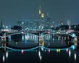 Bridge at night Frankfurt Germany