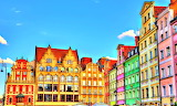 Colorful Older Part of City Wroclaw Poland