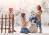 Boy, girl, kids, winter, snow, children, game, snowman, fence