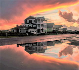 Sunrise after rain Oak Island North Carolina