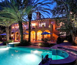 Luxury Mansion, pool and terrace at night