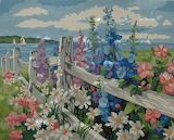 ^ White fence flower garden