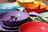 Colored ceramic dishes