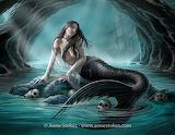 mermaid and skulls