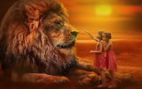 A Big Lion And Two Little Girls