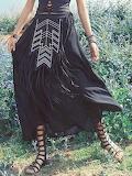 Aporia. AS Black Fringed Chiffon Tribal Boho Maxi Skirt