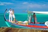 Couple on fishing boat