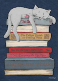Sleeping Cat on Books by Micklyn