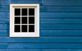 White window, blue house