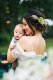 Beautiful bride and her little man