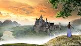 Girl, castle, valley, river, fog, landscape
