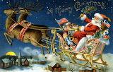 Santas Sleigh~ vintage postcard