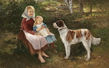 Johan Severin Nilson- Children and dog