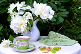 Bouquet, still life, peonies, flowers, cookies, candy, cup, tea,