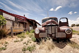 abandoned restaurant and car