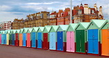 ☺♥ Colorful beach huts in Hove, England...