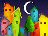 Colours-colorful-houses-town-night-stars-moon-painting