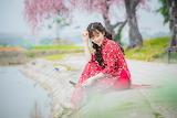 Beautiful, asian, girl, sitting, smiling, red dress, pink flower