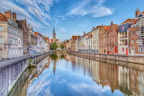 ^ Belgium Houses Bruges Canal Street