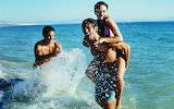 Sea, water, girl, squirt, guys, man, woman, happy, fun, beach