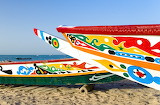 Colorful boats on a Senegalese beach