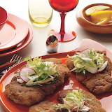 ^ Chicken Schnitzel with Frisée-Apple Salad