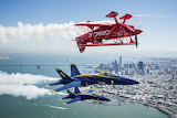 Blue Angels fly over the San Francisco Bay
