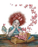 Red hair and butterflies