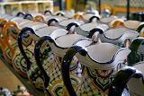 Bright Talavera pottery pitchers of Mexico