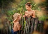 Boys, nature, children, fence, hat, bracelets