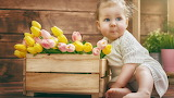Flowers, child, tulips, baby, child, kid, little girl, Tulips, L