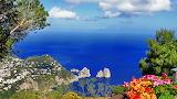 Sea, greens, the sky, trees, landscape, flowers, mountains, natu