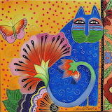 Blossoming-spirit-cats by Laurel Burch