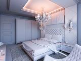 Dormitorio con gran lampara