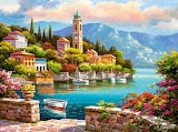 beautiful village painting