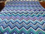 Crochet zigzag with scrap blues